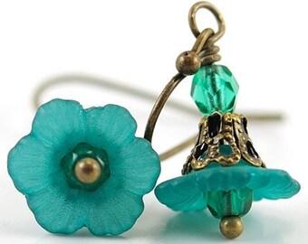 Teal Green Earrings, Lucite Teal Flower Earrings,Beaded Blue Green Floral Jewelry, Czech Glass, Short Dangle Antique Brass, Romantic Gift