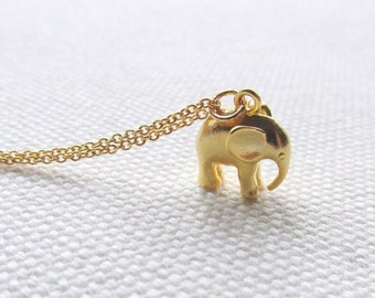 Gold Elephant Necklace Dainty Charm Necklace 14k Gold Fill Chain Cute Animal Jewelry