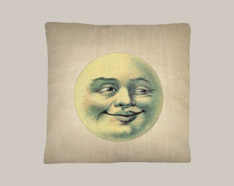 Vintage Man in the Moon Illustration HANDMADE 16x16 Pillow Cover - Choice of Fabric