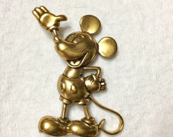 Vintage Disney Mickey Mouse gold toned  metal brooch pin.