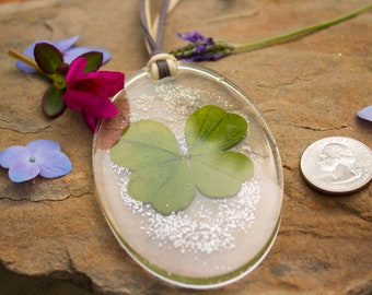 Four Leaf Clover Pendant In Resin - Suede String - Handmade - Large Oval