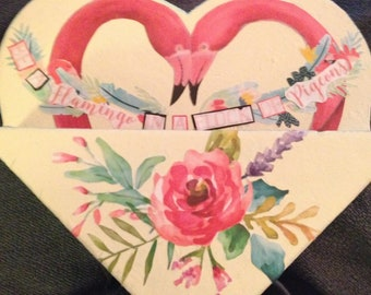 """FREE SHIPPING Hand Painted Wooden Heart for Mail, Keys, Flowers, Misc. Says: """"Be a Flamingo in a Flock of Pidgeons"""""""