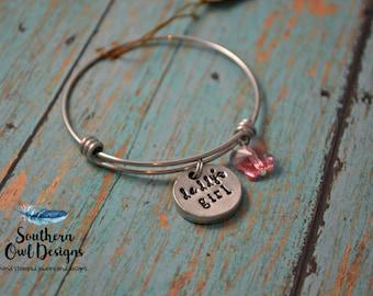 daddy's little girl bracelet, daddy's little girl bangle bracelet, hand stamped daddy's little girl