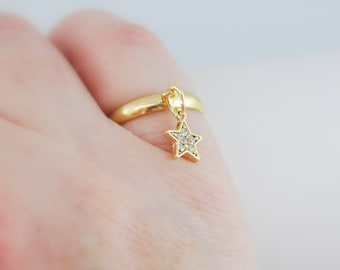 Gold Star Ring, Charm Ring, Cubic Zirconia, Adjustable Size, Gold Plated Brass Jewelry