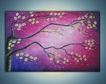 "Original cherry blossom Zen painting. ""Magical magenta sky""- Contemporary Landscape. White flowers on magenta, purple, blue. violet sky."