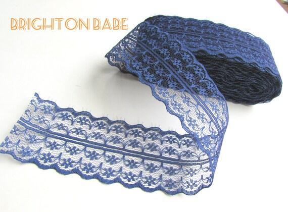 "2.5 yds Navy BLUE burlap lace trim 1 3/4"" 45 mm, shabby chic dark blue lace. Blue lace ribbon"