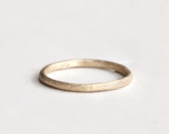 A sweet rustic wedding band. 18k. Simple love. Bean