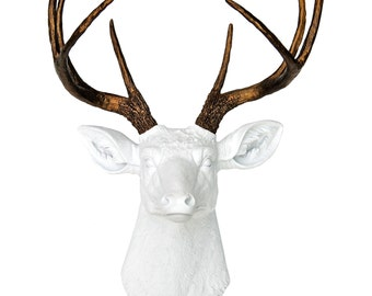 Deer Head Wall Mount in White and Bronze - Faux Taxidermy Deer Head - Fake Stag Head Wall Decor D0109