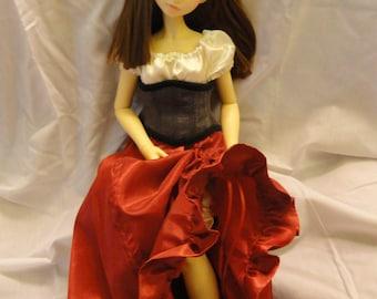 SD BJD Dollfie  Theatre Skirt  Red  Taffeta