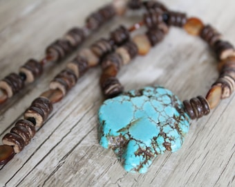 Magnesite Stone Pendant Necklace / Wooden Agate, Wood, and Mother of Pearl Shells / Chunky Necklace / Turquoise Necklace / Gifts for Her