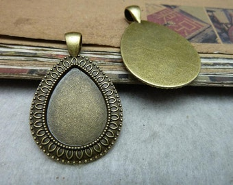 10 Teardrop Pendant Trays Antique Bronze Tone Bezel Setting Fitting 18x25mm Cabochon (YT7988)