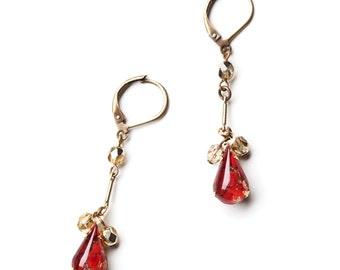 Burgundy Earrings - Marsala - Wine - Purple - Gold - Vintage Inspired Jewelry - Laurence Earrings (SD0368)