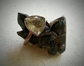 Trillion Cut Rutilated Quartz Crystal Ring - Size 7, Copper