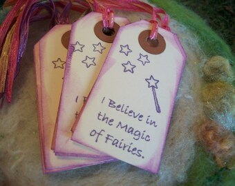 Magical Fairytale Gift Tags, Bag Tag or Box Label, I Believe in Magic Purple Gift Tags