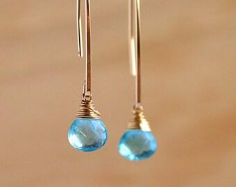 Natural Paraiba Blue Apatite Dangle Earrings, Long Gemstone Earrings, Crystal Earrings Gift for Her in 14K Rose Gold Filled Sterling Silver
