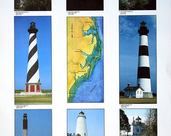 The Lighthouses of North Carolina - 18.5x25 Poster