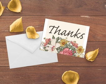 Gilded Finch Antique Floral Thank You Notecard Set