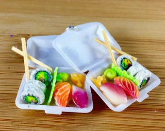 Takeout sushi miniature polymer clay food jewelry