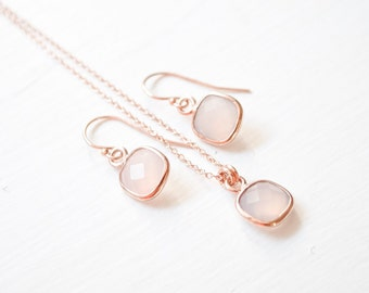 14kt Rose Gold Bridesmaid Jewelry Set, Chalcedony Earrings and Necklace, Rose Gold-Fill Jewellery Set