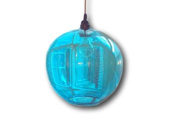 AQUA Gumball Hanging Art Glass Pendant Diffuser Globe Light by Rebecca Zhukov