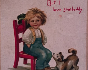 """Antique Embossed Ellen Clapsaddle """"To My Valentine"""" Postcard with Image of Boy and Dog"""
