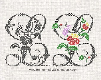 Large Antique Floral Monogram - Machine Cross Stitch Embroidery - Tropical Flower Initial - Cross Stitch Font - Floral Font L - HBS-61-L