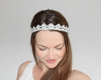 Lace Bridal Crown, Silver Crown Headpiece, Wedding Headband, Silver Headband Adult, Bridal Headband, Flower Girl Tiara, Bachelorette Crown