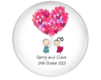 Wedding favor magnet - personalise with your text - 20  Balloon wedding favor magnets