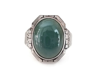 Vintage Uncas Sterling Chrysoprase Ring - Green Stone, Art Deco Style, Unisex Ring, Rings for Him, Rings for Her, Statement Ring
