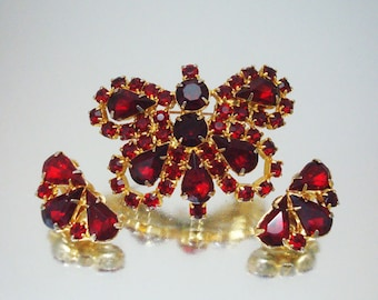Exquisite Butterfly Pin Brooch & Earrings Red Rhinestone Stunning r