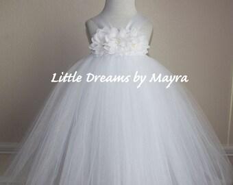 Puffy Baptism tutu dress and matching hairpiece, Christening tutu dress, white flower girl tutu dress size nb to 4T