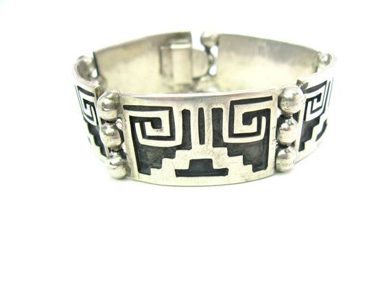 Vintage Taxco Sterling Silver Aztec Panel Bracelet