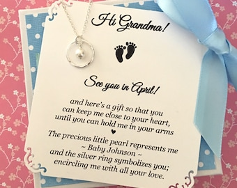 PREGNANCY ANNNOUNCEMENT Gift for Grandma Baby Announcement NECKLACE Pregnancy Reveal Adoption Announcement Sterling Silver Swarovski Pearl