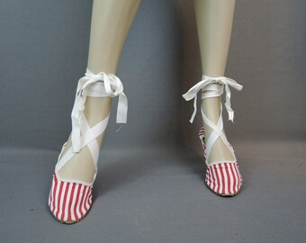 Vintage Red Striped Bathing Shoes, Lace Up Beach Shoes, size 7-1/2 ? 1950s