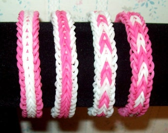 Rainbow Loom Rubber Band Bracelets, Fishtail with Border, Pink and White, Set of 2