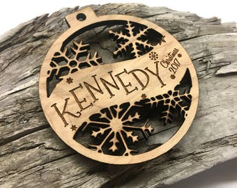 Kennedy - Customizable Christmas Ornament - Engraved Birch Wood Ornament