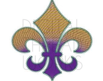 Gradient Mardi Gras Fleur De Lis Machine Embroidery Design, 4x4 5x7 6x10 inch, Instant Download unique stitching handmade ITEM# GMGFDL