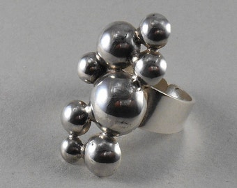 Bubbles - sterling silver statement ring
