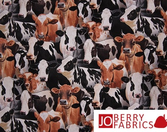 Cows Fabric, Packed Cows by Elizabeth Studio, Quilt or Craft Fabric, Fabric by the Yard