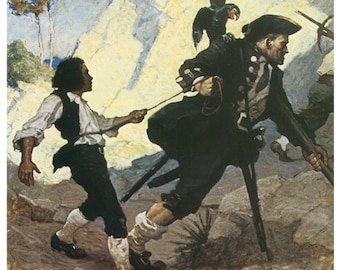 Hand-cut wooden jigsaw puzzle. PIRATES and HOSTAGE. N. C. Wyeth. Fairytale gift. Wood, collectible. Bella Puzzles.