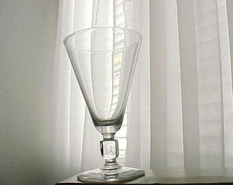 Vintage Glass Kosta Boda Kuba Crystal Water Goblet, Collectible Glass Mid Century Modern Cube Stem, Swedish Modernist Cubed Style