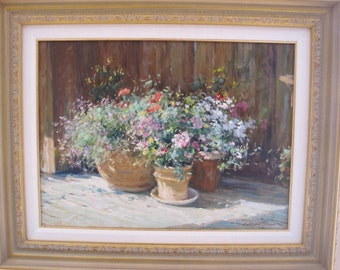 Three Clay Pots by Wilson Chu Framed Oil on Canvas Original Painting
