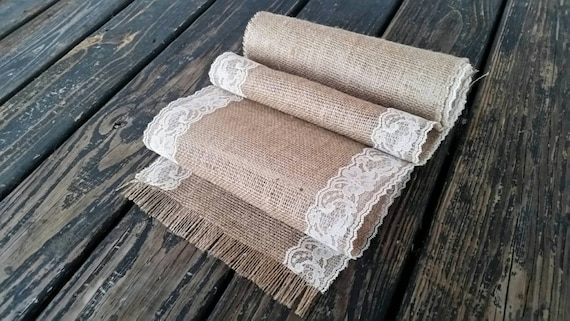 Table Runner, 10 Inch Wide by 72 Inch Long Lace and Burlap Table Runner