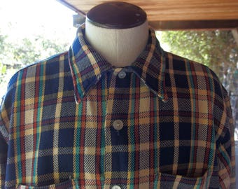 Mens Vintage Plaid Thick Cotton Shirt Long Sleeve Collared