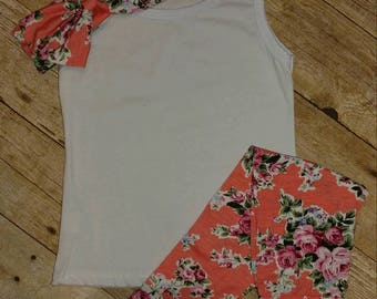 Floral Outfit Set with Bow