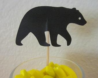 12  Bear cupcake toppers, black bear food picks,  cupcake toppers