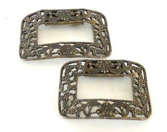 Vintage Unsigned MUSI Gold Tone Filigree Shoe Clips, Ornate Gold Shoe Clips, Wedding Shoe Clips