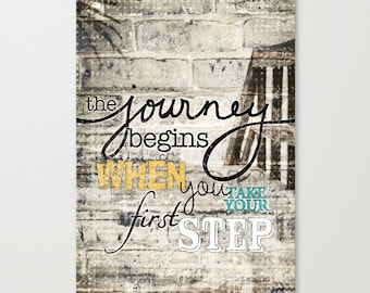 Journey Begins - Typography Word Art Print