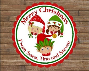 Personalized Christmas Stickers     Elf Family     Christmas Elves Stickers       Christmas Elves Favor Tags