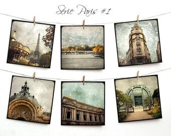 Set of six postcards 14x14cm - series Paris 01